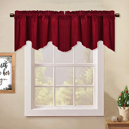 "StangH Kitchen Red Scalloped Valance - 18 Inches Stylish Home Decor Thermal Curtain Tiers Room Darkening Velvet Drapes with Rod Pocket for Dining Room/Bay Window/Bedroom, 52"" x 18"", 1 Piece"
