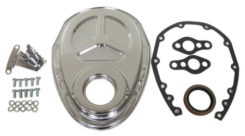 1955-95 Chevy Small Block 283-305-327-350-400 Steel Timing Chain Cover Set (Roller Cam) w/ Timing Tab - Chrome