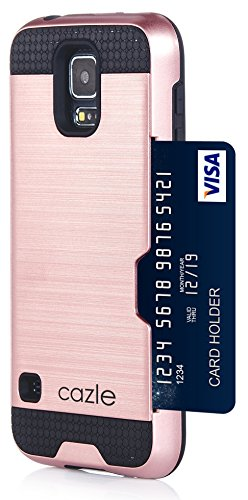 Galaxy S5, Dual-layer Heavy Duty Matte Rugged Protective Cover Case with Credit Card Slot Holder for Samsung Galaxy S5 GS5 by Cazle (Rose Gold)