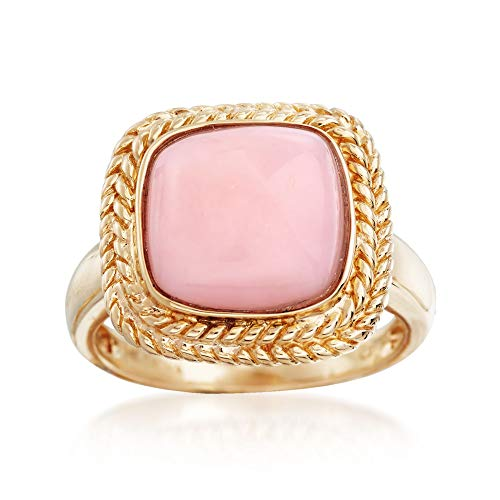 (Ross-Simons 11mm Square Pink Opal Ring in 14kt Yellow Gold)
