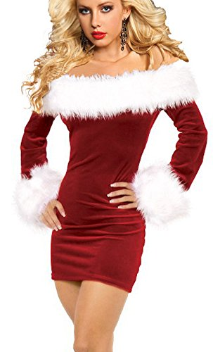 IYISS Women's Sexy Off Shoulder Christmas Santa Costume (M, Red)