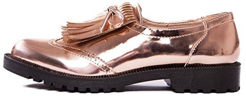 Damen Rosegold 0009209 metallic Fransen Slipper Schuhe Halbschuhe Mokassin Caprium