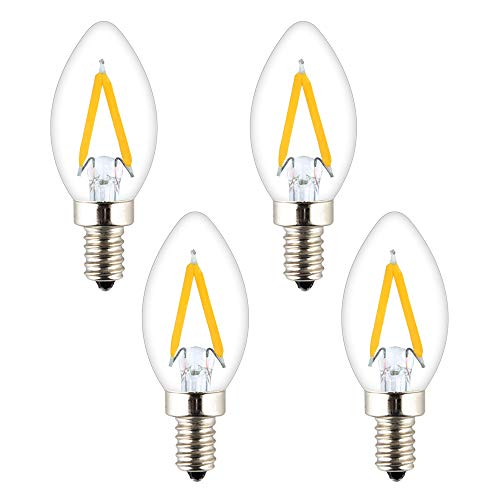 OPALRAY C7 Mini Candelabra LED Bulb, 1W Dimmable, Clear Glass Cover, E12 Candle Base, Warm White 2700K 150Lumens, 15W Incandescent Equivalent, Mini Torpedo Tip, Pack of 4