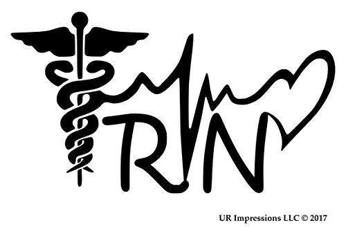 UR Impressions MBlk 5.5in. Registered Nurse - RN Caduceus Lifeline Heart Decal Vinyl Sticker Graphics Car Truck SUV Van Wall Window Laptop|Matte Black|5.5 X 3.1 Inch|URI571
