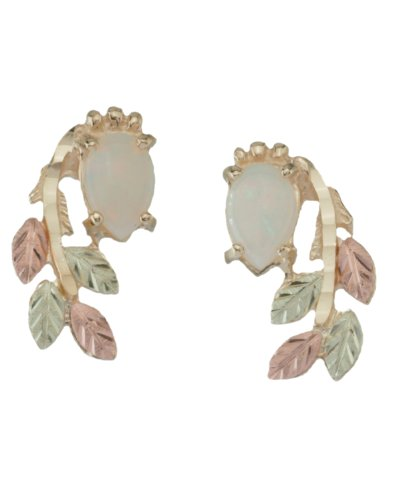 Opal Pear Cabochon Cascade Earrings, 10k Yellow Gold, 12k Green and Rose Gold Black Hills Gold Motif by The Men's Jewelry Store (for HER)