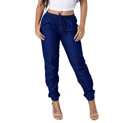 Elastic Waist Casual High Waisted Jeans Womens Casual Blue Denim Pants ()