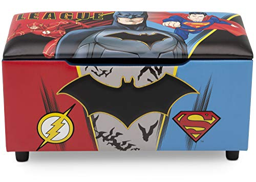 (DC Comics Justice League Upholstered Storage Bench for Kids | Perfect for Bedrooms/Playrooms/Living Rooms | Features Fun Graphics of Batman, Superman, Flash)