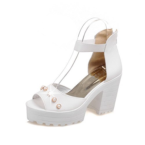 AmoonyFashion Womens Solid Soft Material High-Heels Zipper Peep-Toe Sandals White HbCgxB45iG