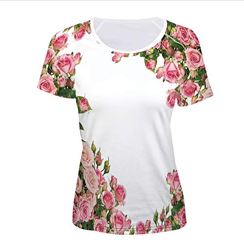 Bush Frame (iPrint T-Shirt Pictures Print,Bushes Frame Bridal Marry Park Summer Occasions,Women)