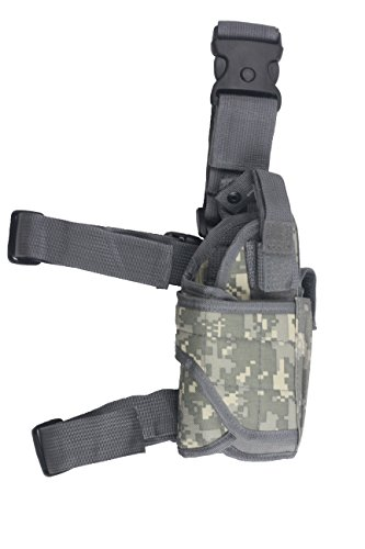 Tactical Leg Holster - Adjustable Pistol Hand Gun Drop Leg Thigh Holster Harness W/ Magazine Pouch Right Handed Bundled With Skull Face Tube Mask(ACU)