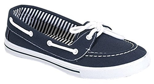 Delight 82 Canvas Lace up Flat Slip On Boat Comfy Round Toe Sneaker Tennis Shoe, Navy, 7.5