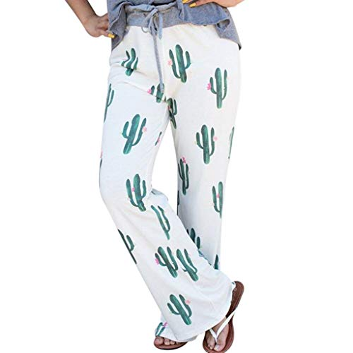 Pervobs Women's Comfy Casual Pants Floral Print Drawstring Palazzo Lounge Pants Wide Leg(M, White)