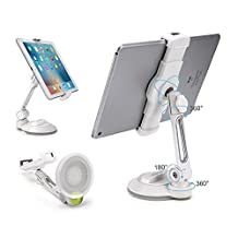 """iPad Suction Cup Holder Tablet Stand, Large Sticky Pad Phone Holder on Smooth Surface Desk Countertop Mirror Window, Swivel Cell Phone Car Holder Tablet Mount 4-11"""" iPhone 5 6 7 iPad Mini Pro (Short \ White)"""