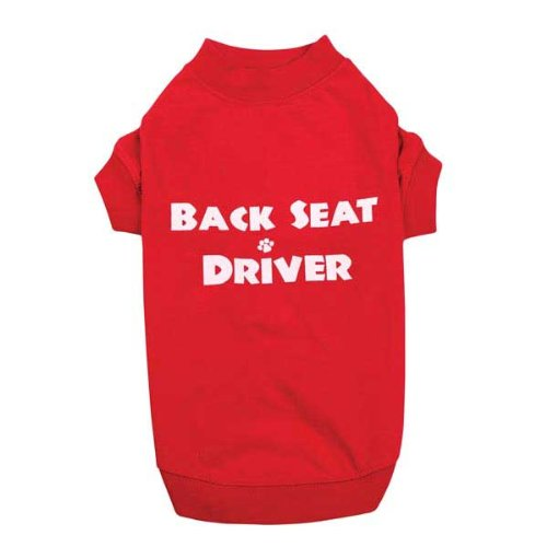Casual Canine Back Seat Driver Tee Lrg Red