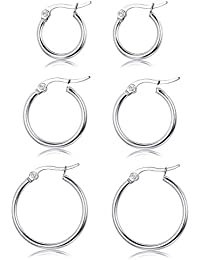 Flat 3mm Rounded Twisted Hoop Bright Polished Sterling Silver Earrings Italian