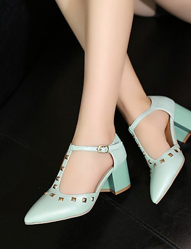 ShangYi Women's Shoes Heel Heels / Pointed Toe Sandals / Heels Office  Career / Dress / Casual Blue / Pink /...