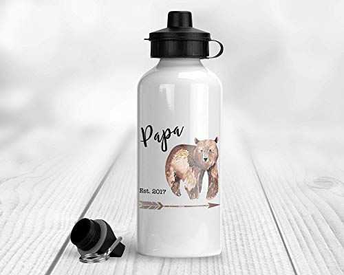Papa Bear Aluminum Water Bottle with Arrow and Custom Date 20 oz. (600 ml) with 2 Lids