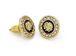 Medusa Head Earrings 10mm Gold Tone with Black Medallion Shaped MB001