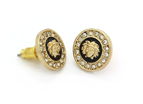 Medusa Head Earrings 10mm Gold Tone with Black Medallion Shaped - Medusa Versace Versace