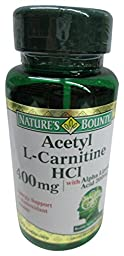 Nature\'s Bounty Acetyl L-Carnitine, 400 mg, with Alpha Lipoic Acid 200 mg, 30 Capsules (Pack of 2)