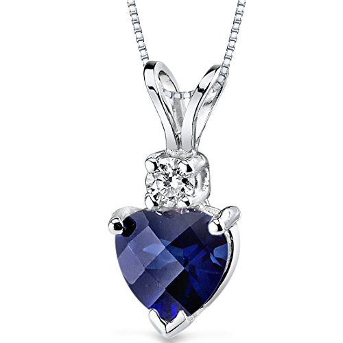 14 Karat White Gold Heart Shape 1.00 Carats Created Blue Sapphire Diamond Pendant Blue Sapphire Platinum Necklace