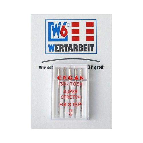 Original W6 Wertarbeit Nähmaschinennadel 130 / 705 H Super Stretch 75 Sortiment 5 Stück