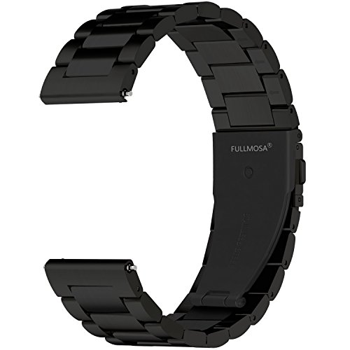 Fullmosa Quick Release Watch Band, Stainless Steel Watch Strap 16mm, 18mm,19mm,20mm,22mm or 24mm, 20mm Black