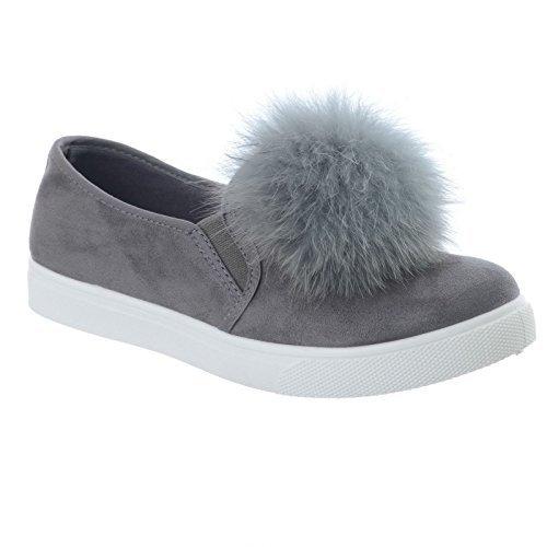mujer nuevo Pompón Forma Plana Tacón Bajo Plano Ante Zapatillas Mocasines mullido Piel Zapatos Oxford Talla Grey Faux Suede