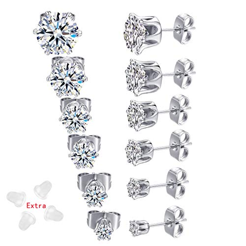 6 Pairs 18K White Gold Plated CZ Stud Earrings Simulated Diamond Round AAA Cubic Zirconia Ear Stud Set (3-8mm) (Silver)