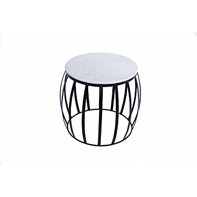 The Urban Port UPT-70000 Concave Base Round Marble Top Side/End Table, White and Black - Construction of this table involves the use of marble for its round top and metal for base stand. Embellish your living room, bedroom kitchen, dining room with this contemporary design table. It has weight capacity of 44 Pounds. - living-room-furniture, living-room, end-tables - 41aJjn3SUkL. SS400  -