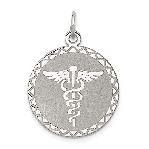 925 Sterling Silver Caduceus Disc Necklace Pendant Charm Career Professional Medical Fine Jewelry Gifts For Women For Her