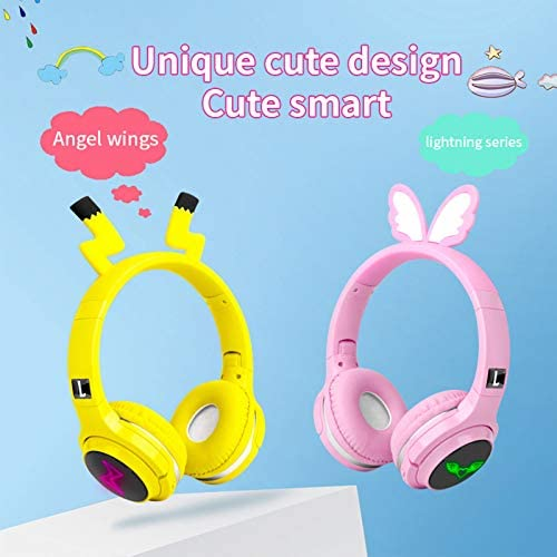 Kids Wireless Bluetooth Headphones,Cute Pikachu Over-Ear Headphones with Built-in Microphone,Wireless and Wired Headset for Phones,Tablets,PC,Laptop, for Boys Girls Toddler,Yellow