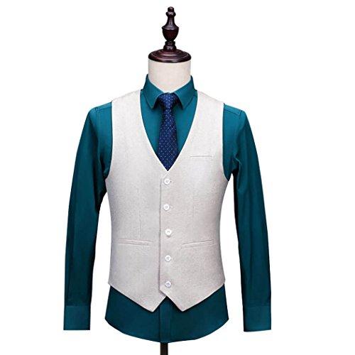 Mens Premium Wool Blend Tweed Herringbone Slim Fit Wedding Tuxedo Waistcoat Suits Vest ()
