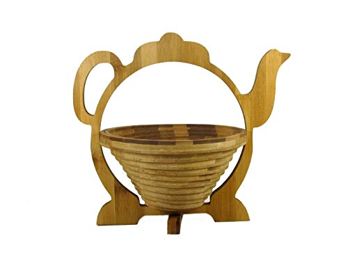 Foldable / Collapsible All Natural Bamboo Fruit Basket in a Teapot Shape