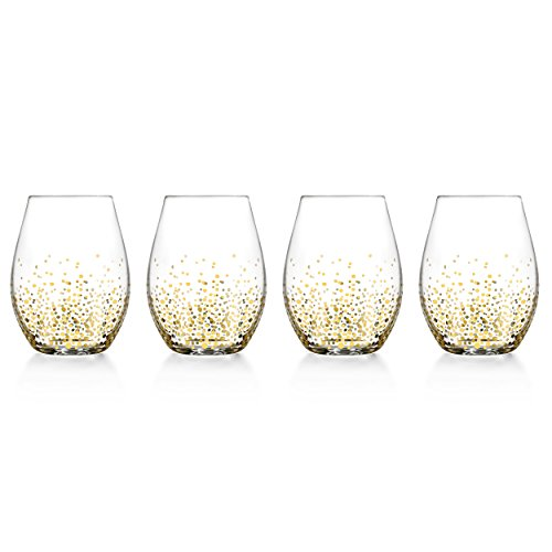 Fitz and Floyd 229700-4ST Luster Stemless Goblets Gold ()