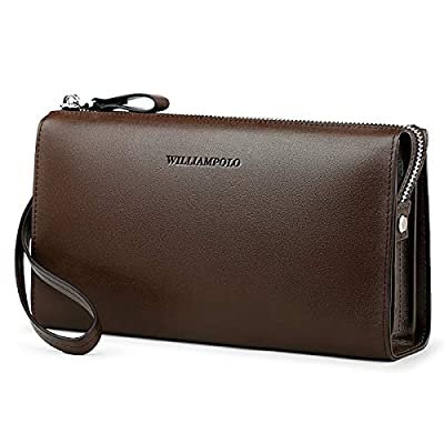 WilliamPOLO Men's Genuine Leather Clutch Bag Handbag Business Organizer Wallets