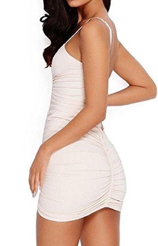 Apricot Dress Jaycargogo Vogue Strap V Club Sleeveless Womens Mini Spaghetti Drawstring Neck PqSPZ