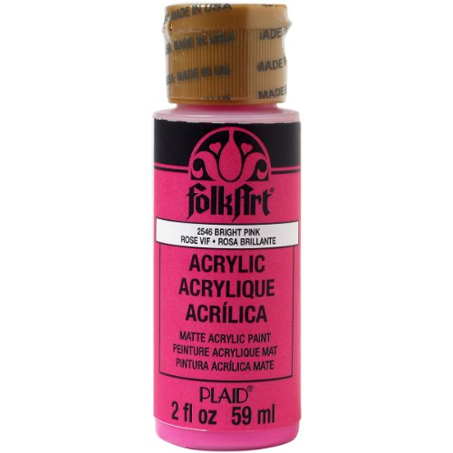 FolkArt Acrylic Paint in Assorted Colors (2 oz), 2546, Bright - Bright Acrylic Pink