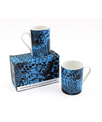 Third Drawer Down Late-Night Chat is Filled with Dreams Coffee Mug Set of 2, Artwork by Yayoi Kusama, Fine Bone China Dishwasher and Microwave Safe- Blue - Dishwasher Safe Fine China Mug