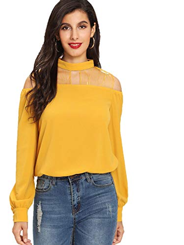 Milumia Women's Mesh Sheer Yokes Open Shoulder Long Sleeve Stand Collar Blouse Yellow Large