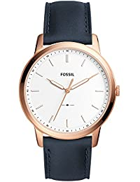 Men's 'Minimalist' Quartz Stainless Steel and Leather Casual Watch, Color:Blue (Model: FS5371)