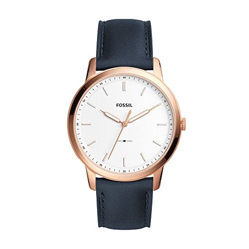 Fossil Men's 'Minimalist' Quartz Stainless Steel and Leather Casual Watch, Color:Blue (Model: (Mens Fossil Casual Watch)