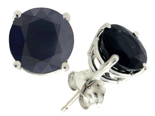Tommaso Design 7mm Round Genuine Black Sapphire Earrings Studs 14 kt Yellow Gold