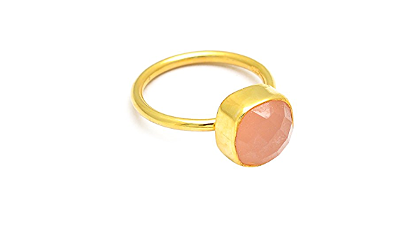 Gold Plated Wedding Ring GRS-1041 Details about  /925 Sterling Silver Chalcedony Gem Rose Gold