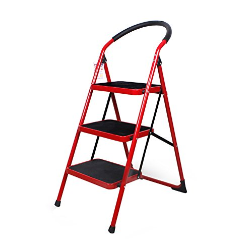 - LXLA- 2,3,4-Step Stool Household Folding Ladder With Handrail Non Slip Portable Footstool For Home, Workshop, Garage (Color : Red, Size : 49×69×105cm)