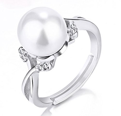 Hosaire Elegant Pearl Ring Crystal Open Rings Wedding Jewelry For Women-It...