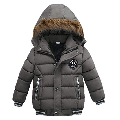 - Goodkids Toddler Boys Down Jacket Winter Jacket Hooded Thickened Warm Snowsuit Coat Parka Outerwear (Gray 110)