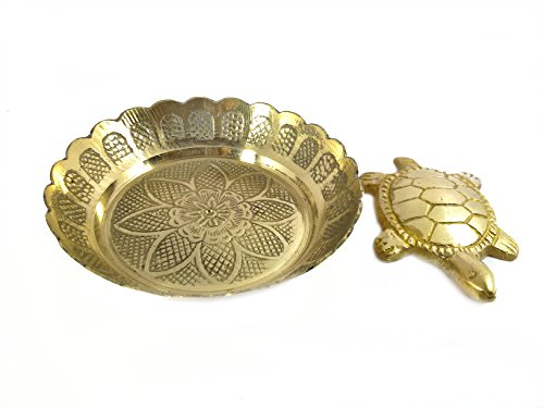 Discount4product Brass Metal Turtle with Brass Metal Plate for Good Luck