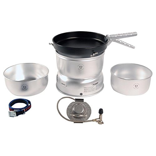 (Trangia - 25-3 Ultralight Camping Cookset | Includes: Gas Stove, 2 Pots, 1 Frypan, Upper & Lower Windshields, Pot Gripper, & Strap)
