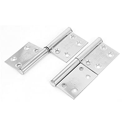 uxcell Furniture Hardware Window Door Detachable Flag Hinges Silver Tone 2pcs